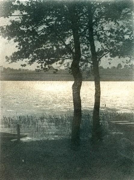 Josef Jindřich Šechtl:  Der See Jordán in Tábor, um 1920 Bromöldruck